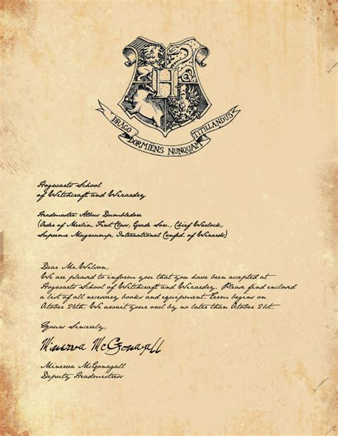 Hogwarts Acceptance Letter Invitation Harry Potter Part 1 The Invites Filthy Muggle