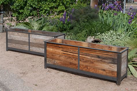 Cedar Wood Planters by Rustic Steel Frame Planters With Reclaimed Cedar Wood