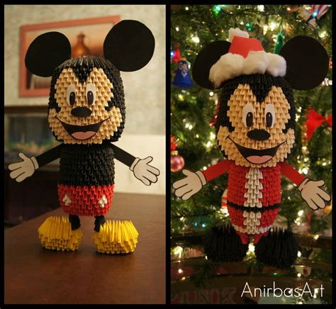 Mickey Mouse Origami - 3d origami mickey mouse by sabrinayen on deviantart