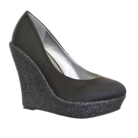 womens black satin glitter wedge heel platform