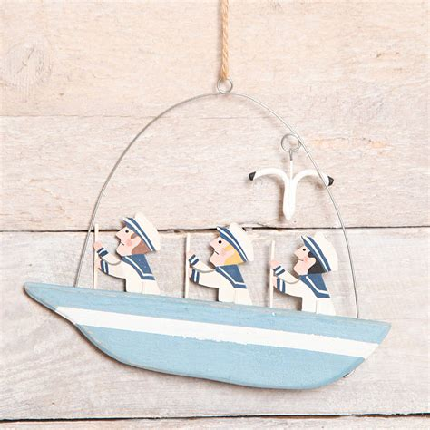 boat ornaments for bathroom three men on a boat bathroom decoration by red berry apple notonthehighstreet com