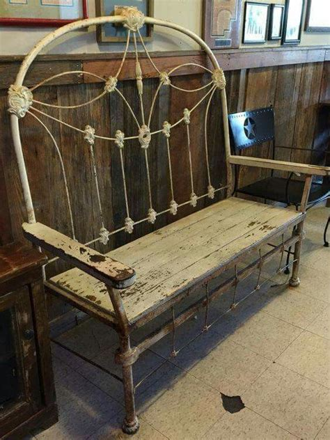 bench made from a bed iron bed frame bench refinish remodel refurbish