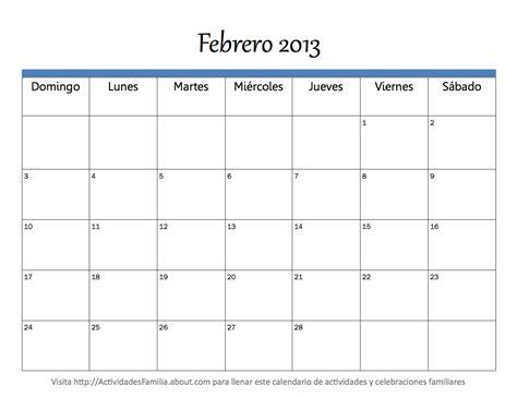 Calendario De Febrero Calendario Febrero 2013 Universo Guia
