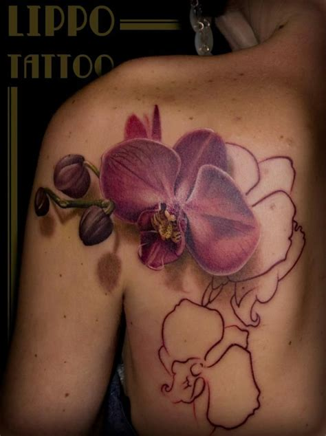 lippo tattoo orchid in progress by lippo in frosinone