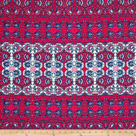 knit print fabric liverpool knit print fuchsia light blue white