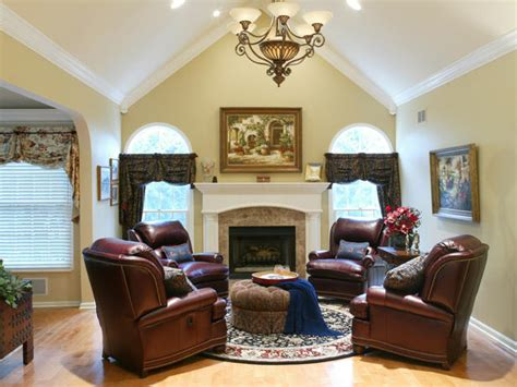 4 Chair Living Room Cozy Leather Chairs In Traditional Living Room Hgtv