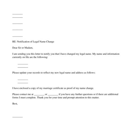 notification of name change letter free template