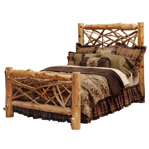 Wood Log Bed Frame Rustic Bedroom Interior Decorating Ideas With Twig Log Bed Frame Furniture And Brown Tassel Bed