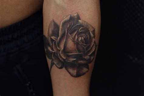 realistic black and grey rose tattoo tattoos royal jafarov