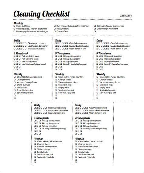35 Cleaning Schedule Templates Pdf Doc Xls Free Premium Templates Cleaning Checklist Template