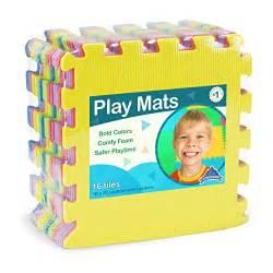 Gamis Baby Ribbon Flo Tile foam play mats 16 tiles borders safe puzzle playmat non toxic interlocking floor