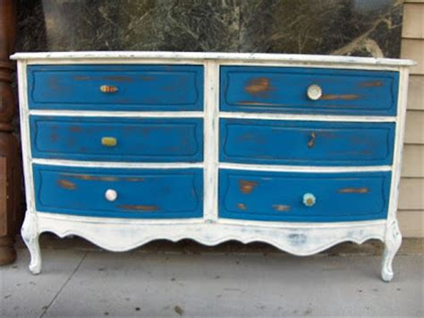 Blue And White Dresser by Furnitologist Country Shabby Chic Inspired Dresser