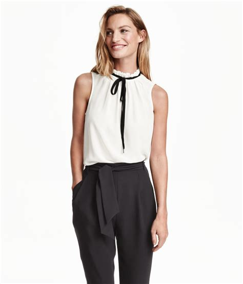 Hm Blouse White h m sleeveless blouse with a tie in white lyst