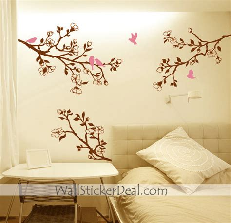 branch cherry blossom birds wall sticker home decorating