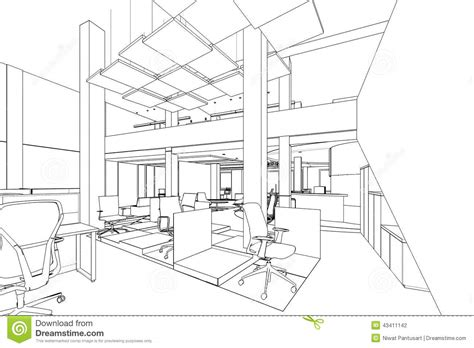 drawing with 3d house stock illustration image of outline sketch of a interior office area stock