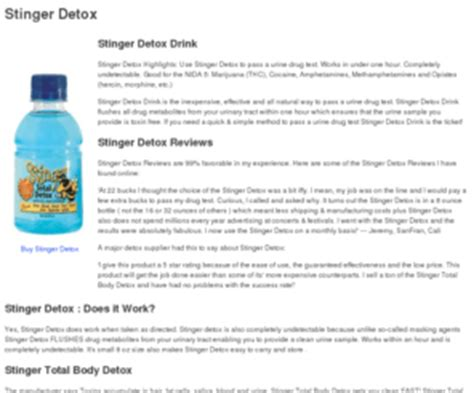 Does Stinger Detox Work For by Stinger Total Detox Stinger Detox And Stinger Detox