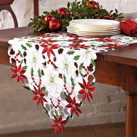 white christmas table runner christmas table runner decor poinsettia 15 x 69 quot red white