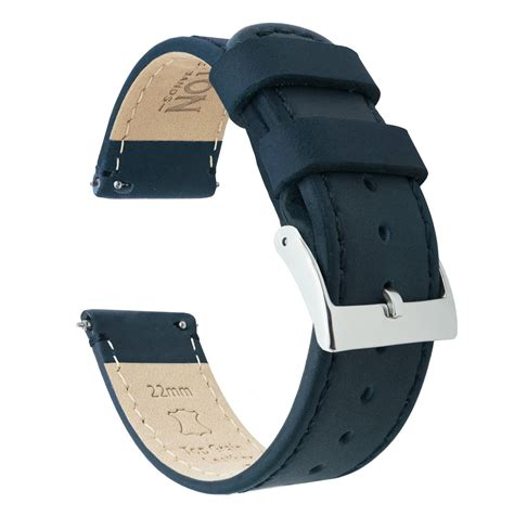 Navy Blue Leather by Leather Release Band Straps Barton Bands