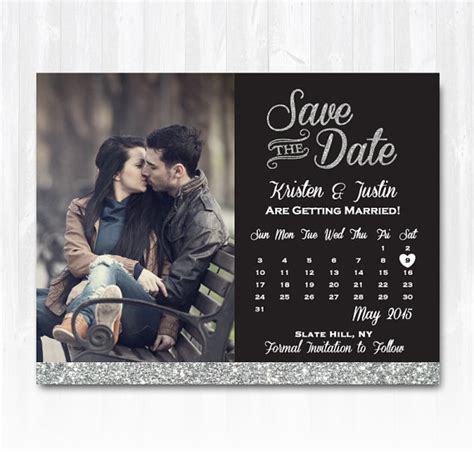 save the date calendar template silver glitter save the date magnet or card diy printable