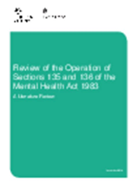mental health act 1983 section 136 sections 135 and 136 of the mental health act literature