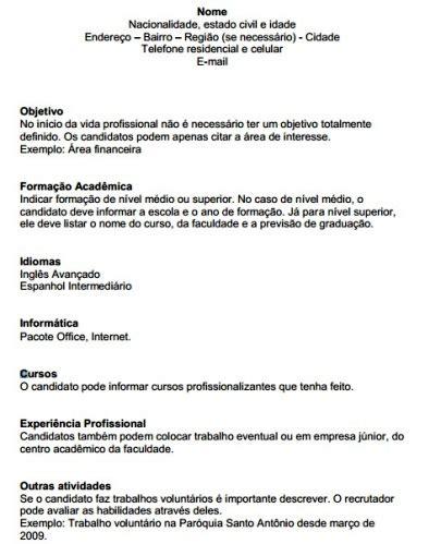 Modelo Curriculum Londres modelo de curriculum para primeiro emprego e dicas