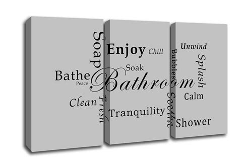 bathroom text bathroom tranquility grey text quotes 3 panel canvas 3