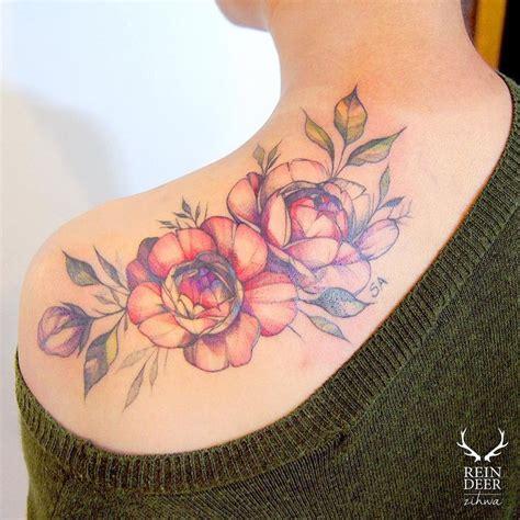 flower shoulder tattoos ideas  pinterest