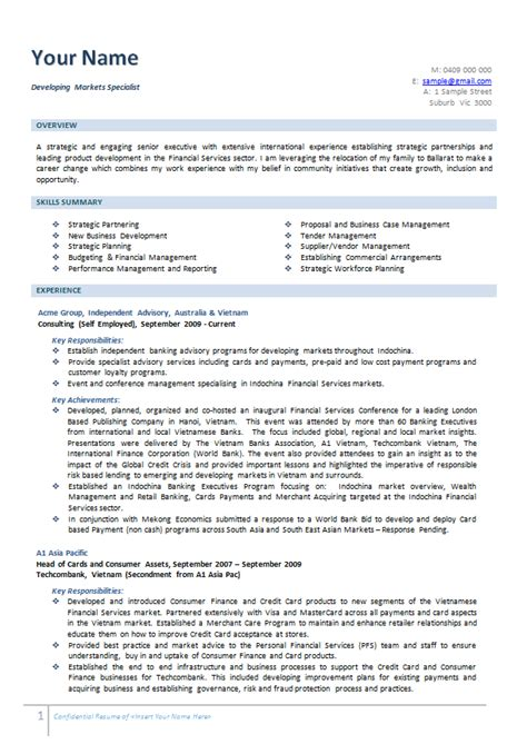 resume template australian government business consultant resume exle executive melbourne