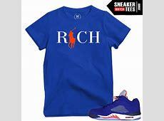 Sneaker tees Jordan 5 Knicks | Sneaker Match Tees Jordan 12 French Blue Shirt