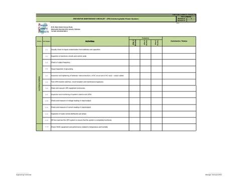 Ups Maintenance Checklist Template Preventive Maintenance Checklist Ups Xls