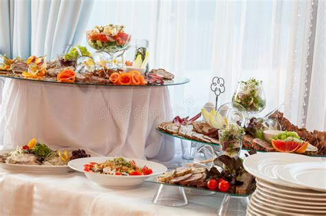wedding table  appetizers stock photo image