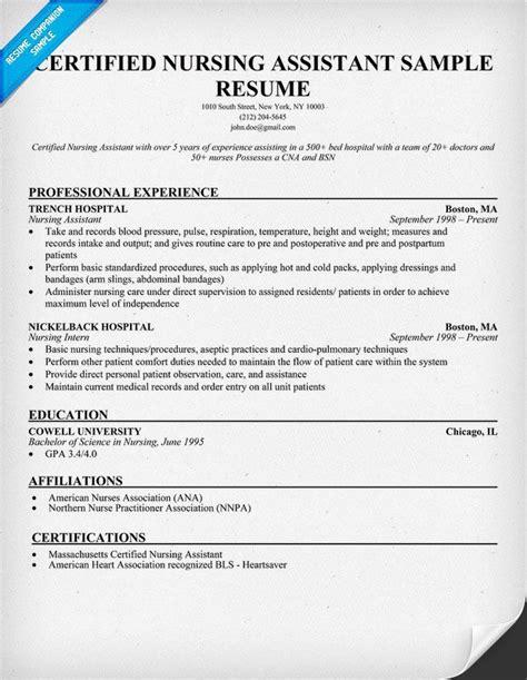 free exles of nursing assistant resumes certified nursing assistant resume http www resumecareer info certified nursing assistant