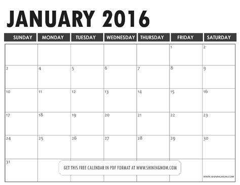 january 2016 calendar template download clipart free all lovely free printable january 2016 calendars