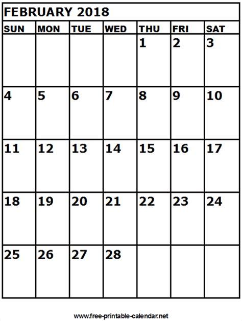 february 2018 calendar free printable calendar february 2018