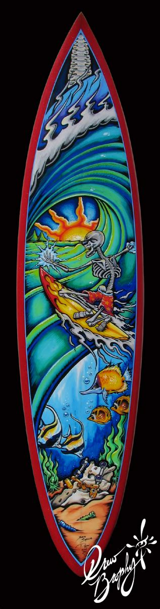 custom painted on surfboards for companies and collectors