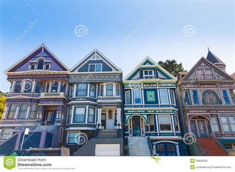 san francisco victorian houses victorian houses in san francisco stock photo