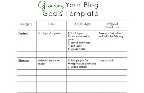 template for goals printable