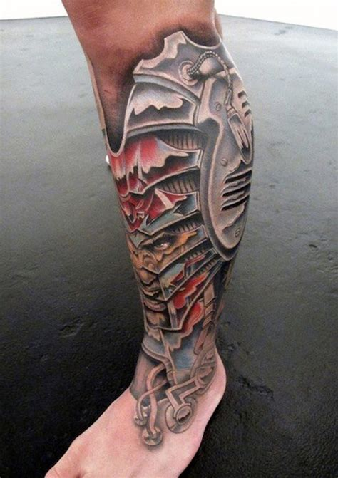 colored tattoos for men awesome colored biomechanical on leg with evil