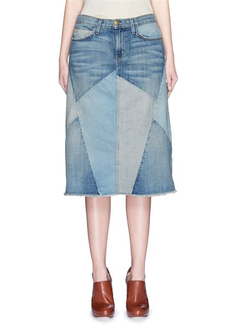 Patchwork Skirts - current elliott the patchwork skirt denim skirt in blue