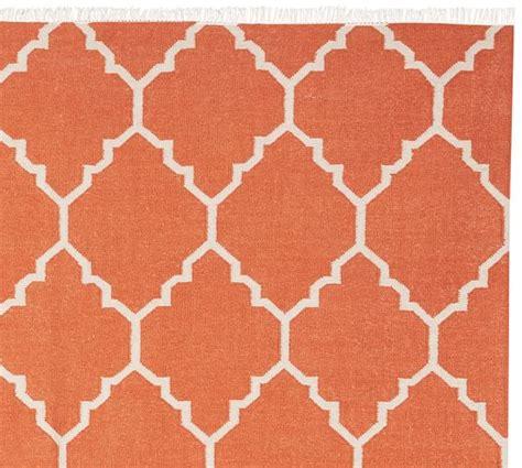 orange dhurrie rug natalie dhurrie rug orange pottery barn