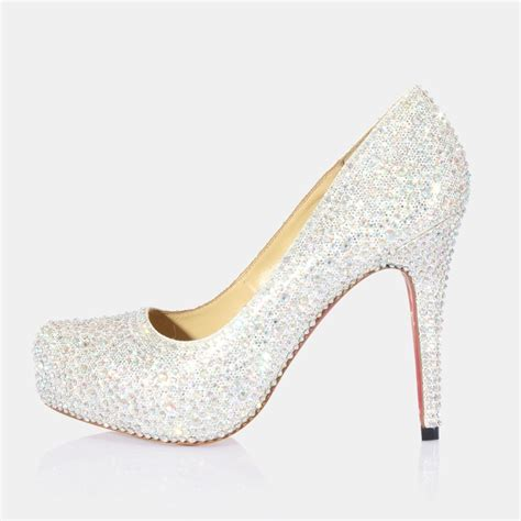high heel closed toes rhinestone wedding shoes in