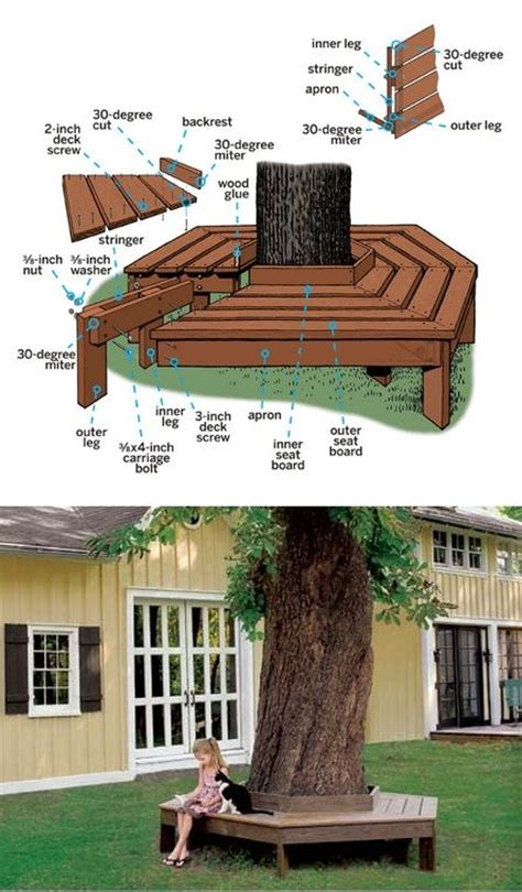 how to build bench around tree tree benches woodworking projects plans