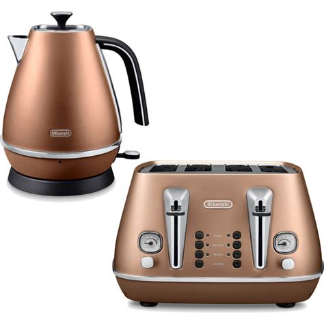 Kitchen Appliances Design by De Longhi Distinta 4 Slice Toaster And Kettle Bundle