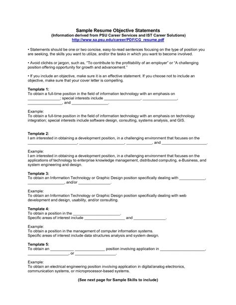 Writing Objectives For Resume by Objectives For Resume Whitneyport Daily