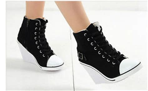 black canvas wedge high heels hi top sneakers
