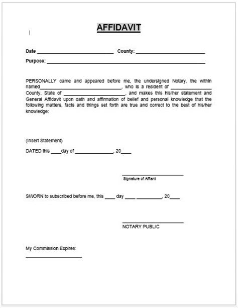 Gift Letter For Car Florida Affidavit Form Microsoft Word Templates Affidavit Templates Documents