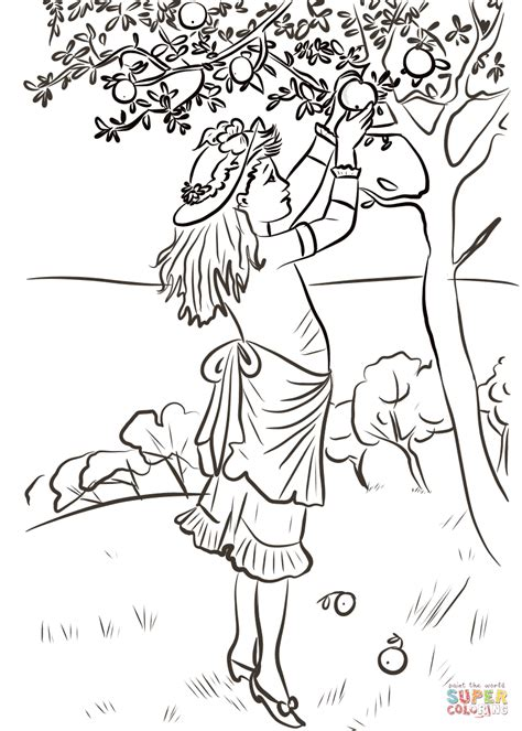 apple picking coloring page girl picking apples coloring page free printable