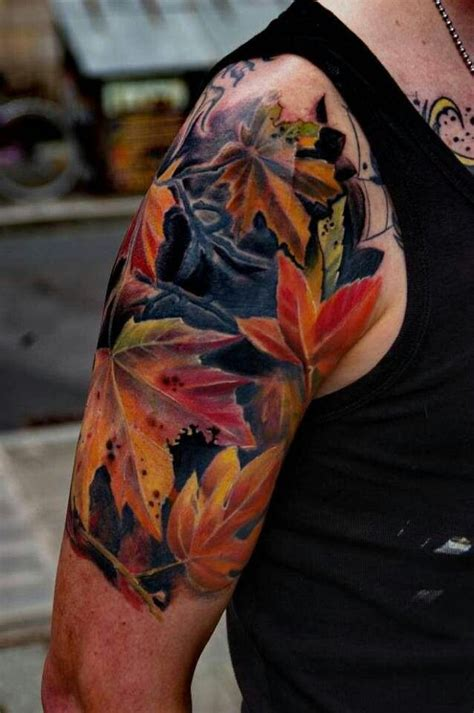 fall leaves tattoo green and autumn fall leaves on back shoulder