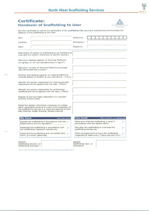 Scaffold Handover Certificate Template by Scaffold Handover Certificate Best Design Sertificate 2017
