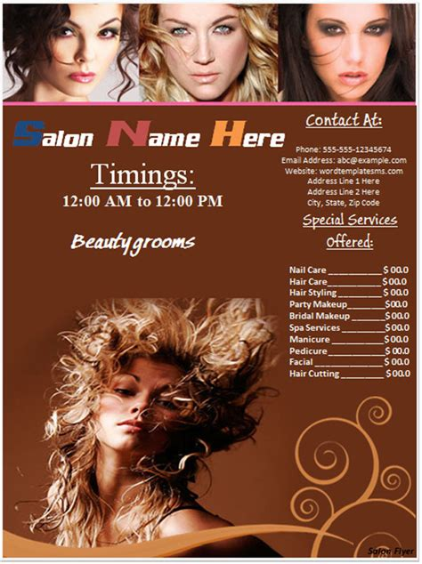 free hair salon flyer templates hair salon books posters and banners with hairstyles